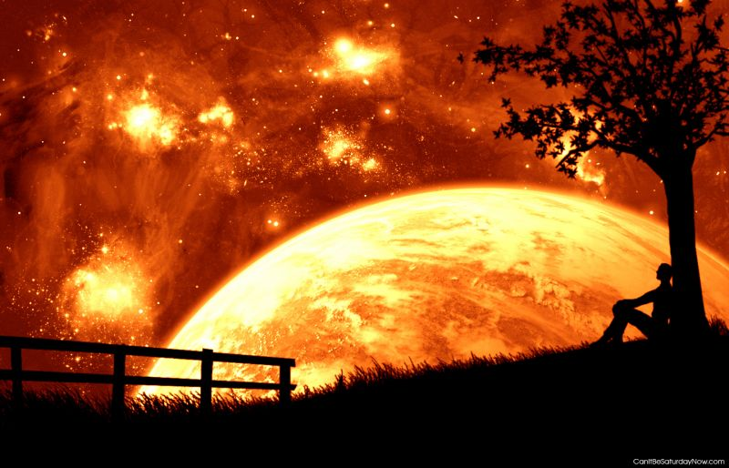 Red sky wiht moon