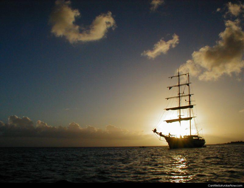 Pirate ship sunset