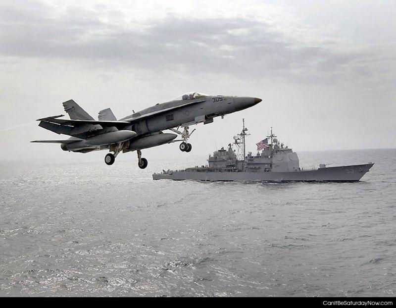 Jet at sea