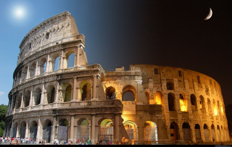 Colosseum day and night