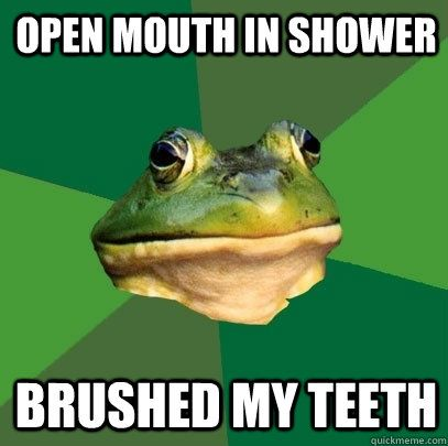 Open mouth in shower
