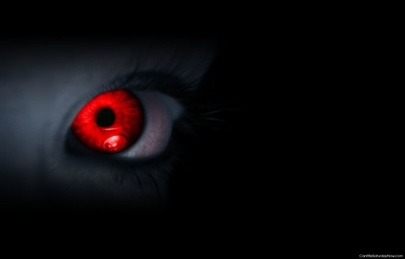 Red eye and black